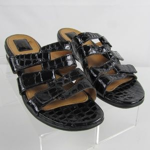 Clarks Artisan Black Patent Leather Sandals Sz 9